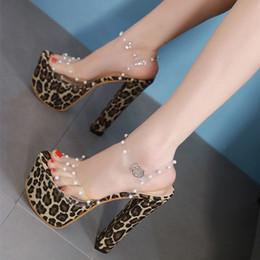 Luxury Designer Women Shoes Australia - 17cm Ultra High Heel Leopard printed rivets sandals 2019 fashion luxury designer women shoes size 34 to 40