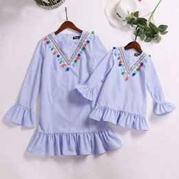 $enCountryForm.capitalKeyWord Australia - Mom family kids summer tops clothes girl Stripe Beach dress Tessels Fringes Vacation Wear Family Match Mom and Daughther dress