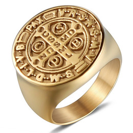 catholic gold cross NZ - Men's Fashion Punk Style 316L Stainless Steel Exquisite Religious Catholicism Catholic Cross Ring Gothic 18K Gold Plated Rings Black US Size