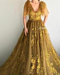 Arabian Plus Size Dresses Australia - Vintage Arabian Dubai Gold Lace Prom Dresses Sexy V Neck Evening Wear Gowns New Design Party Gowns Abendkleid vestidos de fiesta de noche