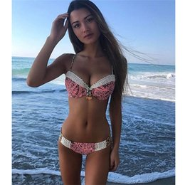 Wholesale 2019 New Style Summer Swimwear Bikini Sexy Swimsuit Pink Lace For Woman Fashion Pendant Pants Suit Beach