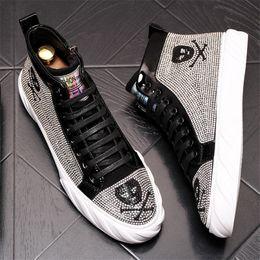 $enCountryForm.capitalKeyWord Australia - Handmade Men Ankle Boots High Quality Skull Print Round Toe Flat Heel Shoes Fashion Hip Hop Classic Boots 10#32D50