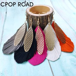 sheep jewelry Australia - Cpop sheep skin leather earrings for women metal pendant tassel leather earrings big statement Bohemia female simple jewelry Drop Shipping