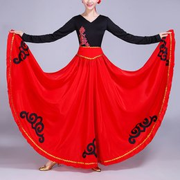 Belly Costumes Australia - High Waist Luxury Cloud Print Satin Silk Spain Traditional Spanish Flamenco Skirt Woman Ballroom Belly Dance Oriental Costumes