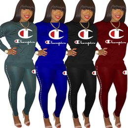 pearl hoodie NZ - Champions Women Hoodies Tracksuit Two Piece Set Tops+Pants Sports Suit Pullover+Leggings Fall Winter Crew Neck Outfits Letter Sweatsuit 1084