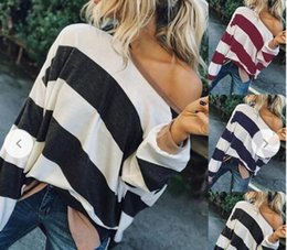 Wholesale autumn female models online – oversize Female autumn and winter designer hoodie women s brand fashion loose striped long sleeved sweater explosion models a of spot