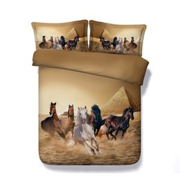 $enCountryForm.capitalKeyWord Australia - 3 Piece Pyramid Running Horses Print Bedding Set With 2 Pillow Shams Watercolor Bedspread Quilt Cover Moon Comforter Cover
