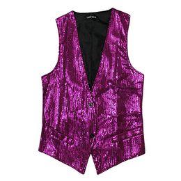Hot Bar UK - Hot Sale Men Vest Casual Suits V-Neck Sleeveless Slim Sequins DJ Stage Waistcoat Nightclub Bar Vest Men Clothing Asia Size M-3XL