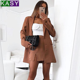womens blazers for work Australia - Womens Long Khaki Blazers for Autumn Winter 3 Buttons 2019 Female Formal Work Blazers with Pockets Casual Solid Jacket Suits