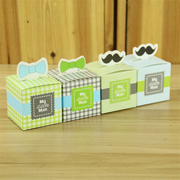 wholesale christening gifts NZ - 100pcs My Little Man Baby Boy Shower Bow Tie Moustache Christening Baptism Favours Gift Candy Box Birthday Wedding Party