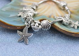 Silver 925 Starfish Bracelet Australia - 2019 Authentic 925 Silver Bracelets Fit Pandora Women Bangle Stainless Steel Openwork Carved Beads Hippocampi Starfish Pendant Jewelry P190