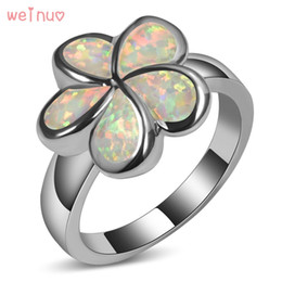 $enCountryForm.capitalKeyWord Australia - Weinuo Flower Type White Opal Ring 925 Sterling Silver Top Quality Jewelry Wedding Ring Size 5 6 7 8 9 10 11