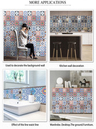 kitchens tiles designs Australia - Vintage Moroccan Tile Sticker Creative Pattern Wall Sticker Home Living Room Bedroom Kitchen Removable Decorating Wall Paper Free Shipping