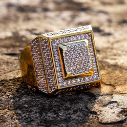 punk rings Australia - New Fashion 18K Gold Plated White CZ Zirconia Rectangle Rings Diamond Hip Hop Punk Jewelry Gifts for Men & Women 20mm Size 7-11 Wholesale