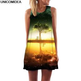 cfc6922a152 2019 Life Tree Print 3D Dress Women Galaxy Star Beer Sleeveless O Neck A  Line Mini Dress Robe Sexy Boho Beach Summer Vestidos