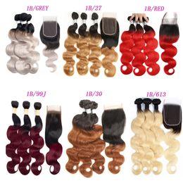 Dark grey hair online shopping - Brazilian Ombre Hair Body Wave Straight Remy Hair Weaves B B B J B Red B B GREY Double Wefts