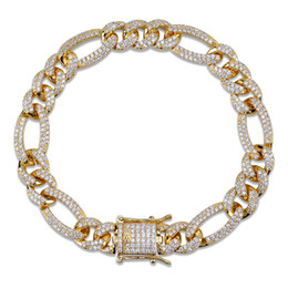 Chain Sets Figaro Australia - Real Gold Plated CZ Cubic Zircon Iced Out Figaro Chain Bracelet 10mm 7 8 inch Miami Rapper Jewelry Wristband Cuban Link Chains for Boys