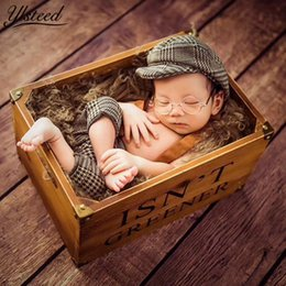 Casquette Cap Pequeno Cavalheiro Roupa Fotografia Recém-nascidos Traje Da Manta Para Photoshoot Bebê Menino Adereços Foto J190522