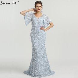 39b22cda00 Sexy Mermaid Short Sleeves Luxury Evening Dresses Flowers Lace Pearls  Fashion Elegant Evening Gowns 2019 Serene Hill