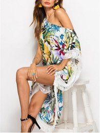 cover up dress flower Canada - Hirigin 2019 Women Long Dress Beach Bikini Cover up Floral Dress Summer Boho Swimwear female Cover up Flower Print hollow tassel