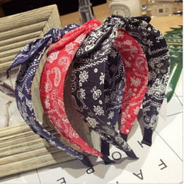 Discount korean hair accessories ears - New high-end hair accessories Korean retro floral knotted small ears bow wide-brimmed fashion hairband headband curling