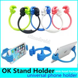 Discount flexible hand phone OK Stand Universal Desktop Stand Mount Thumb Hand Holder For Cell Phone Tablet Lazy Flexible Tablet Phone Holder Desktop
