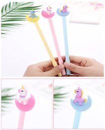 Stationery Australia - INS Unicorn Pony Gel Pen Wholesale Cute Soft Silicone Head Stereo Cartoon Moon Student with Pen Creative Stationery 19cm 10.7g 3 Colors