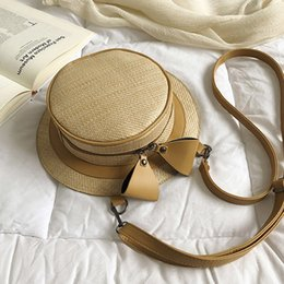 Small rounded hat online shopping - Dual Use Woven Straw Shoulder Bag Female Spring Summer New Straw Bag Personalized Braided Hat Handbag Bow Round Beach Bag
