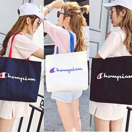 $enCountryForm.capitalKeyWord Australia - Women Champion Bag Letter Print Canvas Bag Large Capacity Shoulder Bags Outdoor Sports Travel Handbags Storage Bags Cheap C423