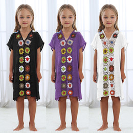 Wholesale Pareo Beach To Swimsuit Coverup Beachwear For Kids Shirt Cover Up And Tunics Dresses Lace Coverups Parent Child Flower J190618