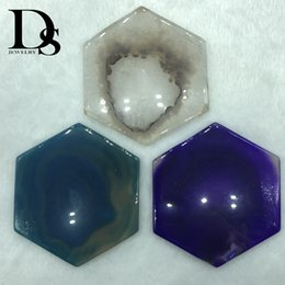 Crystal Slice Australia - Natural Agate Coasters Geode Slice adiabatic Cup Mat Crystal Plate Jade Hexagon Coaster For Cup Display Table Decoration