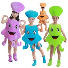 Crianças polvo traje azul roxo mar animal polvo jumpsuit roupas para menino e menina roupas de festa de cosplay do Dia Das Bruxas