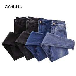 high waist skinny stretchy jeans Australia - 2020 Plus Size Button fly Women Jeans High Waist Blue Pants Jeans for Women High Elastic Skinny Stretchy Women Pants Lift Hips
