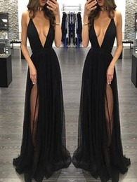 $enCountryForm.capitalKeyWord NZ - Black Elegant Evening Dresses Deep V Neck Sleeveless A Line Prom Dresses Side Split Hot Sale Women Party Gowns Free Shipping