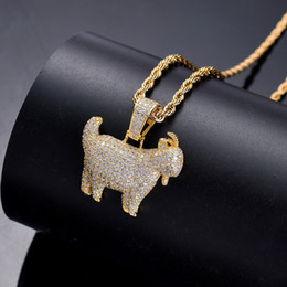 $enCountryForm.capitalKeyWord NZ - Bling Bling Bras cubic zirconia Animal Goat Pendant Hip hop Necklace For Men And Women Jewelry Gift CN051
