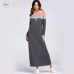 $enCountryForm.capitalKeyWord Australia - Grey Color-Block Kimono Sleeve Split Side Sweatshirt Dress Women Clothes Straight Autumn Casual Hooded Long Sleeve 2019 Maxi Dress