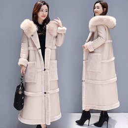 Wholesale fur lined leather jacket women resale online - Large size Winter Lambswool Jacket Coat Women Long Faux Leather Jacket Female Thicken Warm Overcoat Womens Hooded Faux Fur Coats