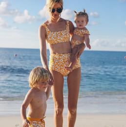 01c297d686 Mother and daughter swimming baby girls floral printed split swimwear kids bikini  swimsuits children SPA beachwear 2pcs sets F4826