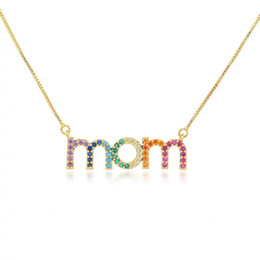 Wholesale Engraving Plate Gold 18k Australia - Hot Sale Beautiful Simple Gold Chain Multi-color Cubic Zirconia Micro Pave Engraved Minimalist Letter Letter Necklaces for Mothers Day Gift