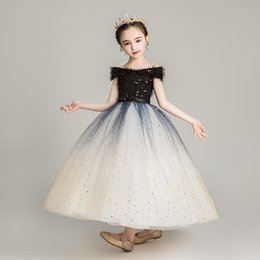 costume wedding dresses kids NZ - Girls Runway Dress Kids Girl Diamond Black Tailing Dresses for Party Princess Birthday Gift Wedding Dress Cosplay Costume S390