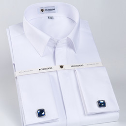 $enCountryForm.capitalKeyWord NZ - Men's Solid White Slim Fit French Cuff Twill Dress Shirt With Covered Placket Long Sleeve Formal Top Shirts (cufflinks Included) Q190518