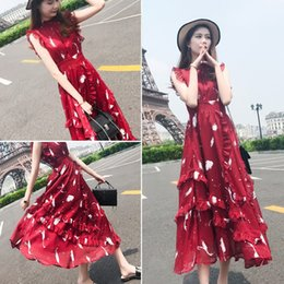 $enCountryForm.capitalKeyWord Australia - Long Skirt Female Summer 2019 New Women's Fashion Korean Edition Temperament Slim Chiffon Dress Long Red Skirt