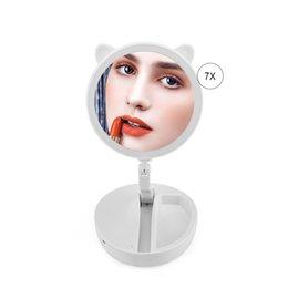 Fold Storage Box Australia - Foldable LED Makeup Mirror Professional 7X Magnifying Vanity Mirrors Tri-fold Desktop Cute Mirror Cosmetic Tool with Storage Box