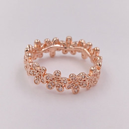 European Gold Ring Australia - Rose Gold Plated & 925 Sterling Silver Ring Dazzling Daisy Band European Pandora Style Jewelry Charm Ring Gift -P