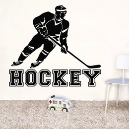 Playroom Art Australia - Hockey Sports Player Wall Sticker Athletic Vinyl Wall Decals Gym Playroom Decoration Home Boys Room Hockey Wall Poster
