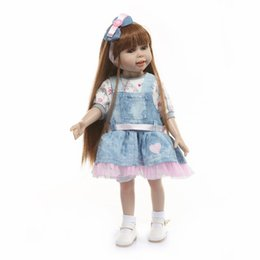 bjd dolls hair Australia - Reborn Babies 18inch americal girls doll 45cm full silicone body girl princess long kanekalon hair beautiful doll