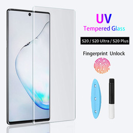 glass protector samsung NZ - UV Tempered Glass For Samsung Galaxy S20 Ultra S10 Plus S9 S8 Full Liquid Screen Protector For Samsung Note 10 Plus 9 8 Glass Film