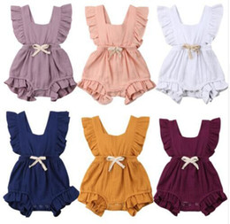 8a077617ff63 Baby Ruffle Romper Solid Color Newborn Infant Back cross Bow Jumpsuits 2019  Summer fashion Boutique kids Climbing clothes C6108