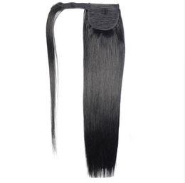 "$enCountryForm.capitalKeyWord UK - 12""-24"" 60g 80g 100g Remy Human Hair Magic Wrap Around Ponytail Clip In 100% Human Hair Extensions Horsetail Straight"