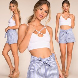thin elastic belts 2019 - Women Striped Printed Shorts Fashion Ladies Loose Thin Cotton Casual Shorts Female Summer Hot Pants with Belt discount t
